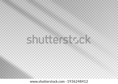 Shadow blinds. Sun light from window. Overlay effect. Shade jalousie transparent. Isolated background. Window blind. Reflection shadows on wall. Realistic soft shade. Horizontal shading mockup. Vector