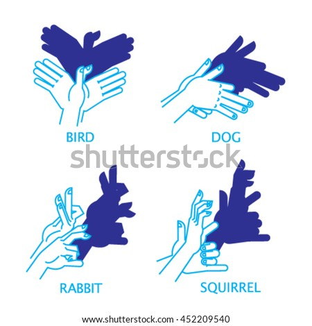 shadow hand puppet set vector