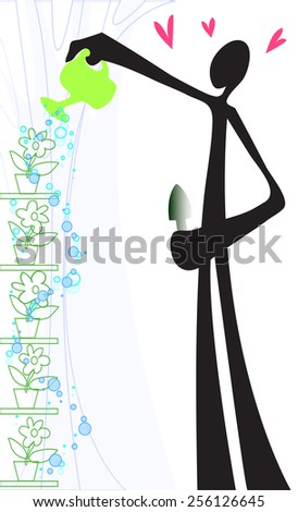shadow man watering flower only on top one time but all flower have drink water in his small plant cartoon symbol design