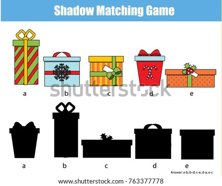 Shadow matching game for children. Find the right shadow. Kids activity with gift boxes. Christmas, new Year theme