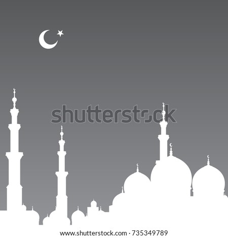 shadow mosque sunset vector