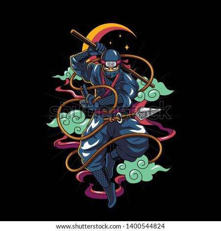 Shadow ninja warrior ninjutsu vector