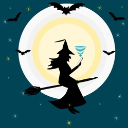 Shadow of a witch riding a broom holding a cell phone, moon, bat and stars at night, vector image