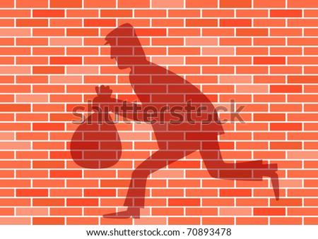 Shadow on the brick wall - stock vector