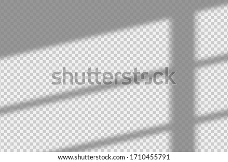 Shadow overlay effect. Transparent overlay shadow from the window and jalousie. Realistic soft light effect of shadows and natural lightning on transparent background. Vector.