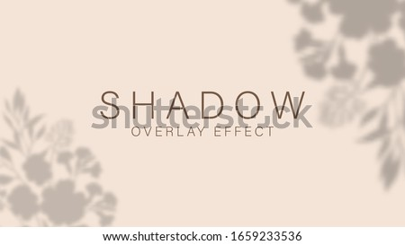 Shadow overlay effect. Transparent soft light and shadows from plant, branches, foliage and leaves. Mockup of transparent leaf shadow overlay effect and natural lightning. Vector mock up gradient mesh