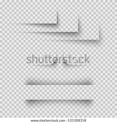 Shadow paper shapes set isolated on transparent background. Vector gradient line dividers for banner, bottom, box, label, bar shadow design.