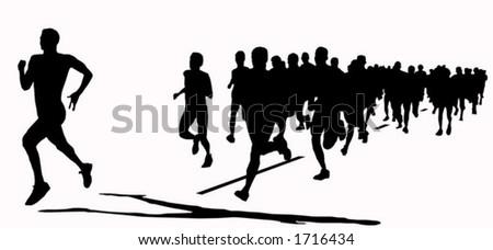 Shadow race - stock vector