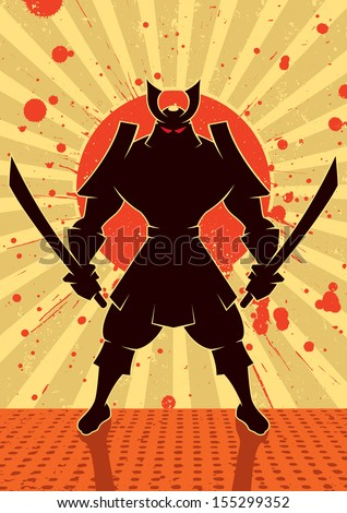 Shadow Samurai Cartoon illustration of samurai warrior No transparency and gradients used