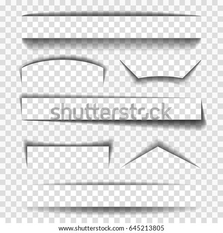 Shadow vector elements for pages, dividers and tabs. Shadows collection illustration isolated on transparent background