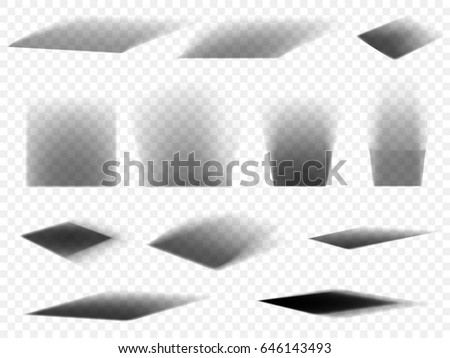 Shadows vector set on transparent background. Box square shadow effect with different light illumination angles for web design element