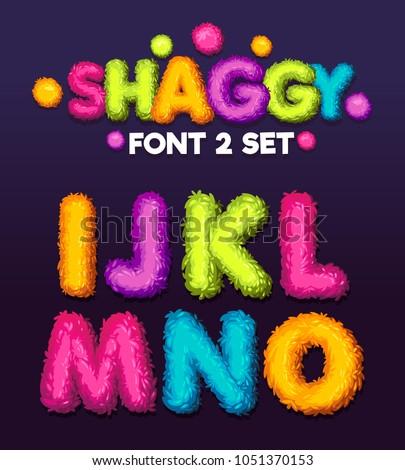 Shaggy font 3 set cartoon letters. Vector color illustration sign i, j, k, l, m, n, o