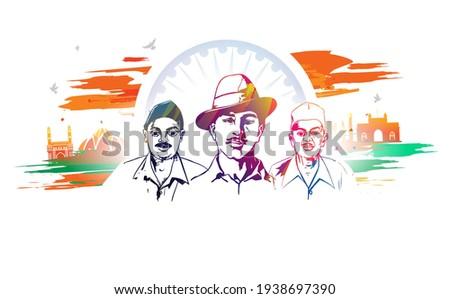 shaheed bhagat singh, sardar bhagat singh, martyrs day vector illustration of Indian people celebrating shaheed diwas