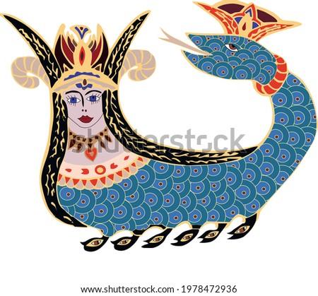 Shahmaran or Shah Maran Drawing Mythological figure from Anatolia Snake Lady vector drawing, mythologies illustration, ancient history legends