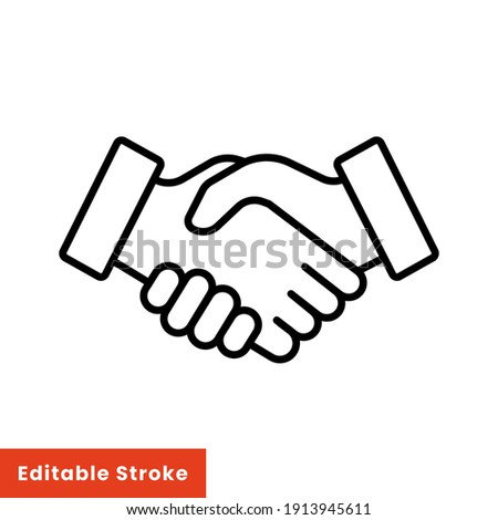 Shake hand line icon. Simple outline style for web and app. Handshake, hands, partnership, business concept. Vector illustration isolated on white background. Editable stroke EPS 10
