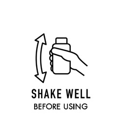 Shake well before using icon on white background. Stock vector