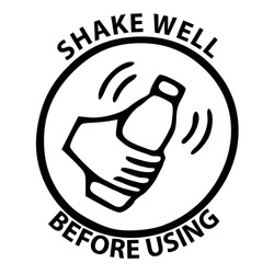Shake well before using sign, logo, symbol, icon. Template isolated on white background. 2D simple flat Style graphic design. Black and white color. Can be used for any purposes Vector EPS10