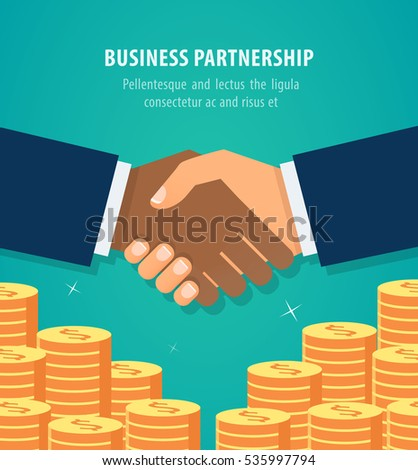 Shaking hands business vector illustration over money stacks. Symbol of success deal, happy partnership icon, greeting shake, casual handshaking agreement flat sign design isolated on green background