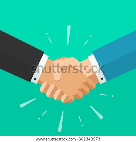 Shaking hands business vector illustration with abstract rays, symbol of success deal, happy partnership, greeting shake, handshaking agreement flat sign modern design isolated on green background Foto stock ©