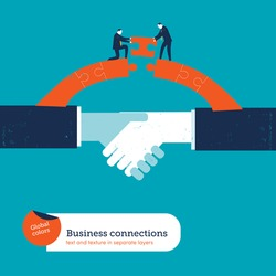 Shaking hands with two businessmen on a puzzle bridge. Vector illustration Eps10 file. Global colors. Text and Texture in separate layers.