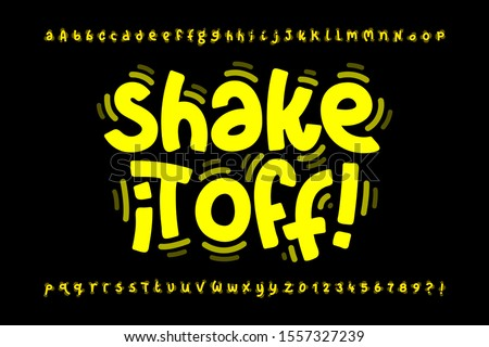 Shaky style font design, shake it off poster, vibrant alphabet letters and numbers, vector illustration