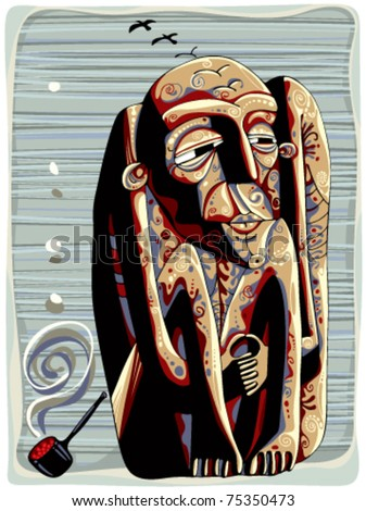 shaman with pipe tribal graphic