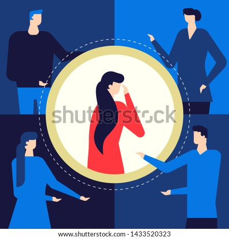 Shame - modern colorful flat design style illustration. Unusual composition with a girl feeling ashamed and confused, standing alone in the circle of attention. Psychological problems concept