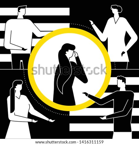 Shame - modern vector flat design style illustration. Black, white and yellow composition with a girl feeling ashamed, standing alone in the circle of attention. Psychological problems concept