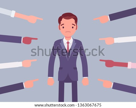 Shame on you, guilty man. Young male manager in painful feeling of humiliation or distress after wrong or foolish behaviour, loss of respect, dishonour pointed by many fingers. Vector illustration