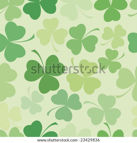 Shamrock leave cloverleaf grass  seamless saint Patrick day pattern. - stock vector