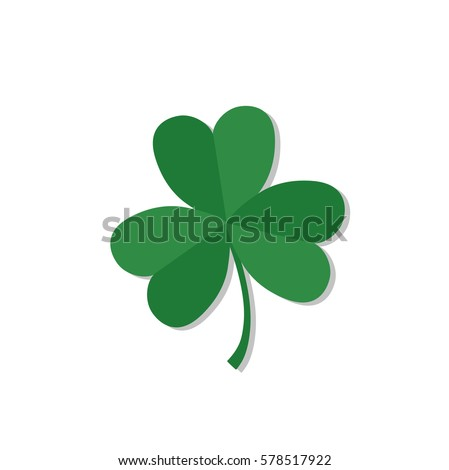 Shamrock or clover. Traditional irish symbol. Talisman or lucky charm. St. Patrick's day symbol. Vector illustration.