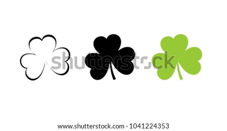 Shamrock symbol icon of 3 types: color, black and white, outline. Isolated vector sign symbol.