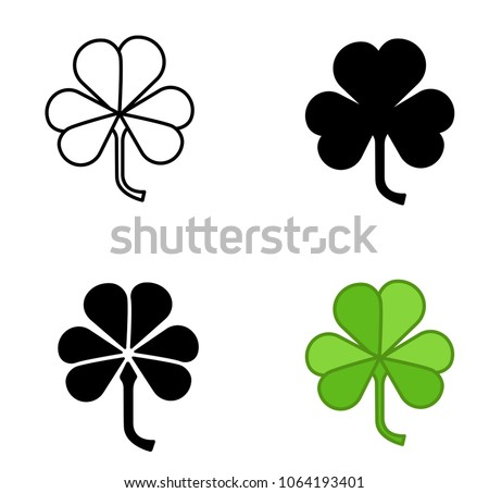 Shamrock vector icon trefoil art set.Shamrock vector icon of 4 types color, black and white, outline. Isolated vector sign symbol on white background.Leaf clover.Flat vector style