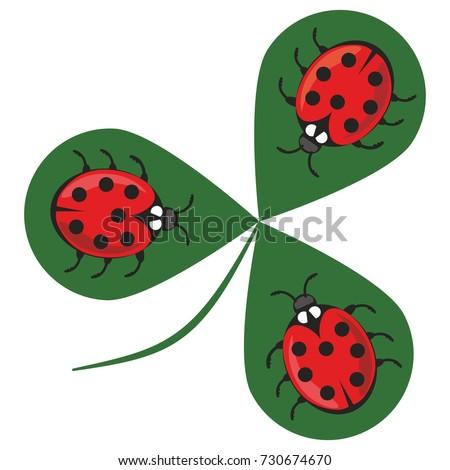 shamrock wiht three ladybugs