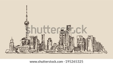 Shanghai China city architecture vintage illustration engraved retro style hand drawn sketch