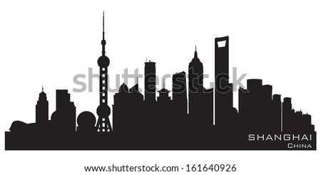 shanghai china skyline detailed