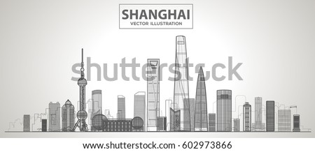 shanghai  china  skyline with