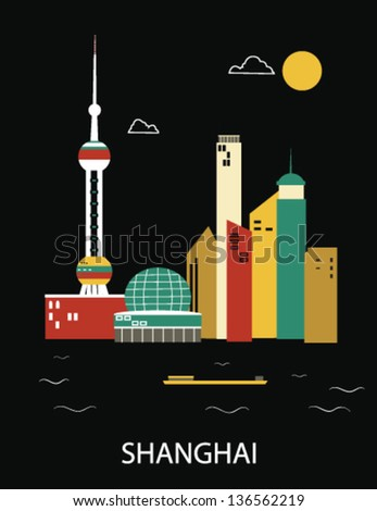 shanghai china vector