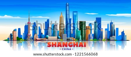 Shanghai city (China) skyline with panorama in white background. Vector Illustration. Business travel and tourism concept with modern buildings. Image for banner or web site.