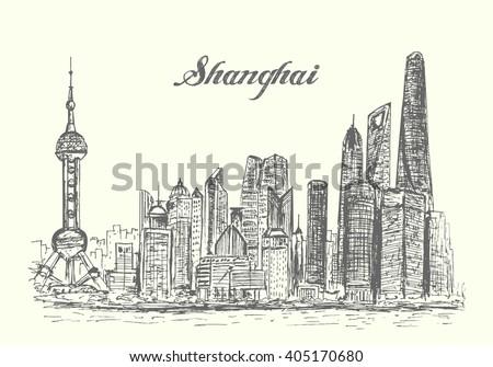 shanghai skyline hand drawn