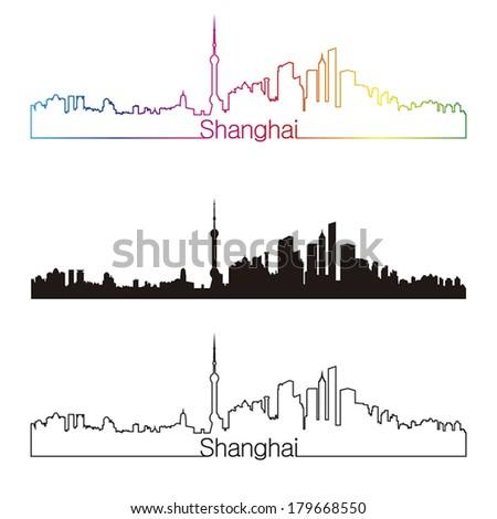 shanghai skyline linear style
