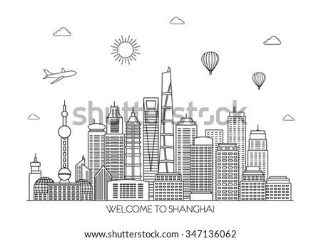 Shanghai skyline. Vector background. line illustration. Line art style