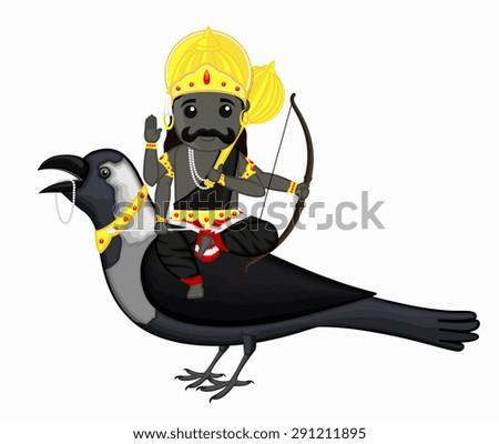 shani dev riding on crow vector