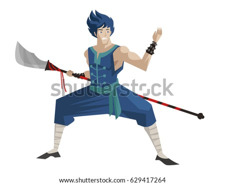 shaolin anime hero with