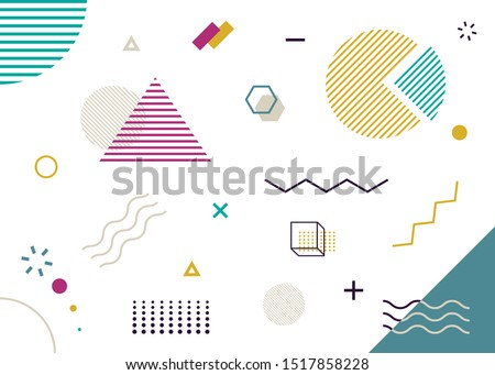 Shape element in trendy style. Vector geometric pattern. Abstract geometric wallpaper. Minimal geometric wallpaper. Memphis style poster set.