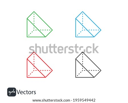 shape geometric geometry d triangle icon. d triangle vector line icon. red, green blue black.eps  Photo stock ©