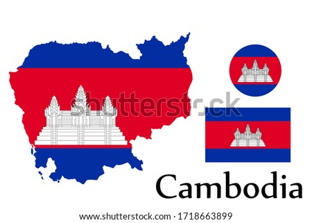 Shape map and flag of Cambodia country. Eps.file.