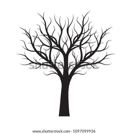 Shape of black naked Tree. Vector Illustration. Plant in garden.