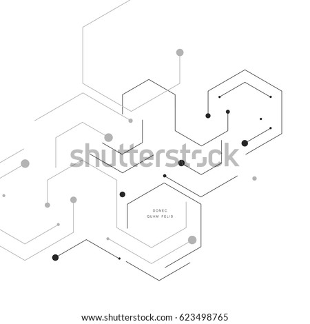 Shape of hexagon style design. Vector abstract technology illustration