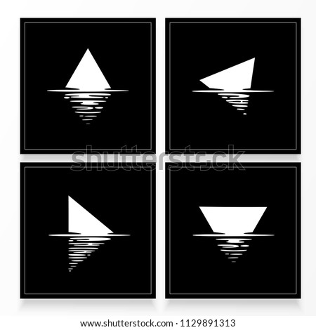 Shape reflection in water. Black and white illustration. Water effect. Vector illustration. EPS 10
